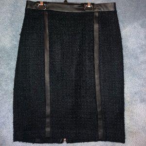 Club Monaco wool skirt with leather trim